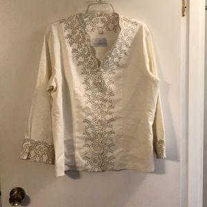 Susan Graver style cream tunic